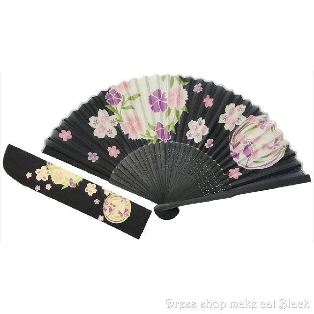 京佑 シルク扇子・袋付 花丸大 K-101 夏祭り 浴衣