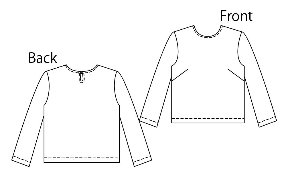 D001  後ろペプラムトップスの製図PDF