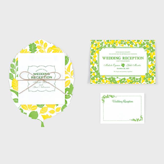 活版印刷の招待状・席次表・席札セット NATURAL GARDEN ナチュラルガーデン 70セット
