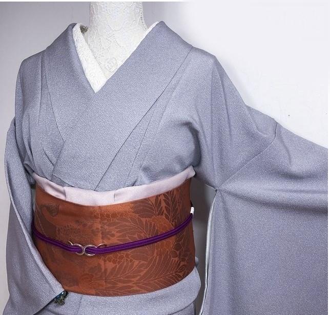 【美品】小紋 笹葉模様に縞 薄パープルグレー 丈167裄66
