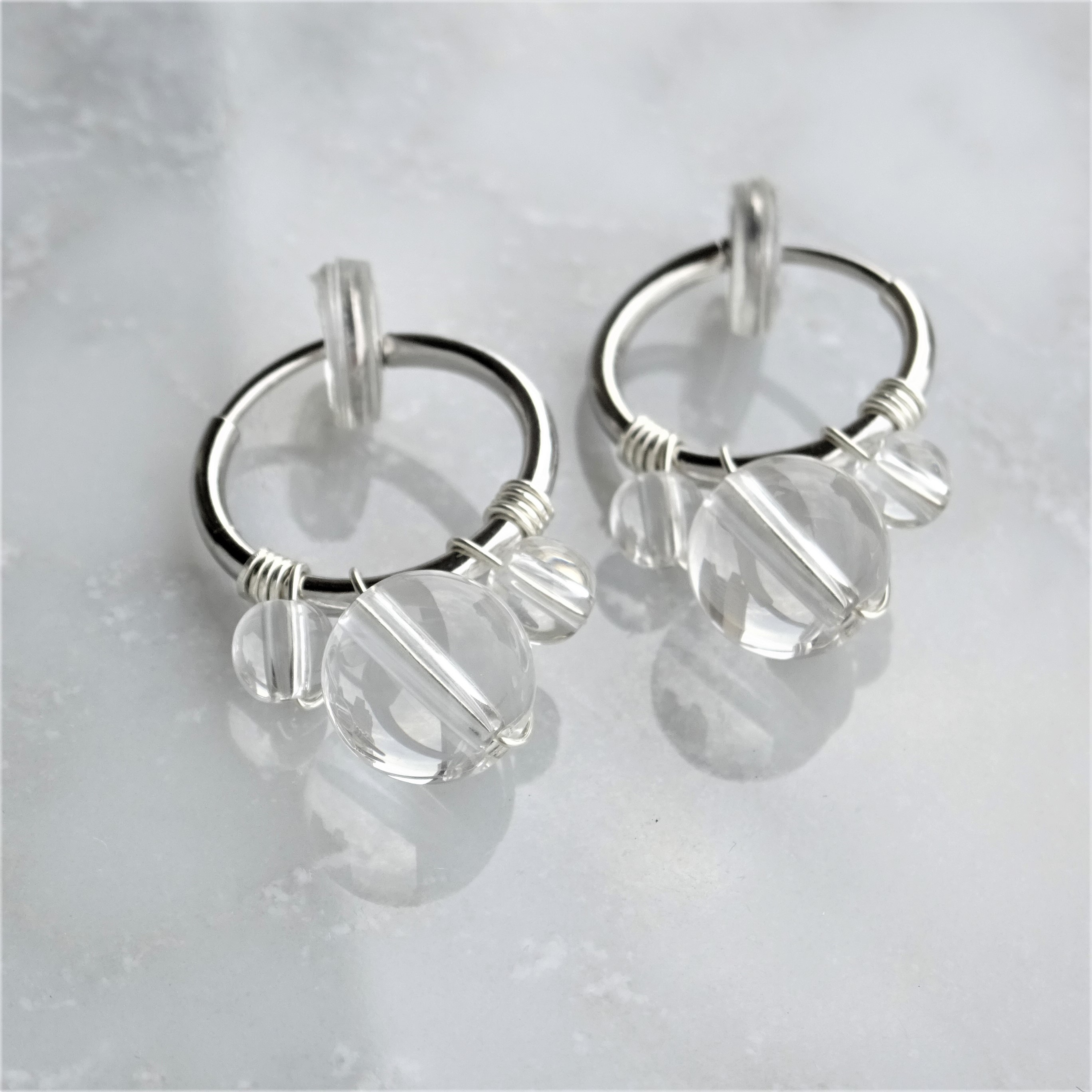 送料無料SV925SF*Crystal Quartz bubble wrapped pierced earring / earring M
