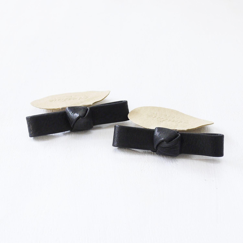 シュークリップ 本革リボン ブラックナチュラルレザー
