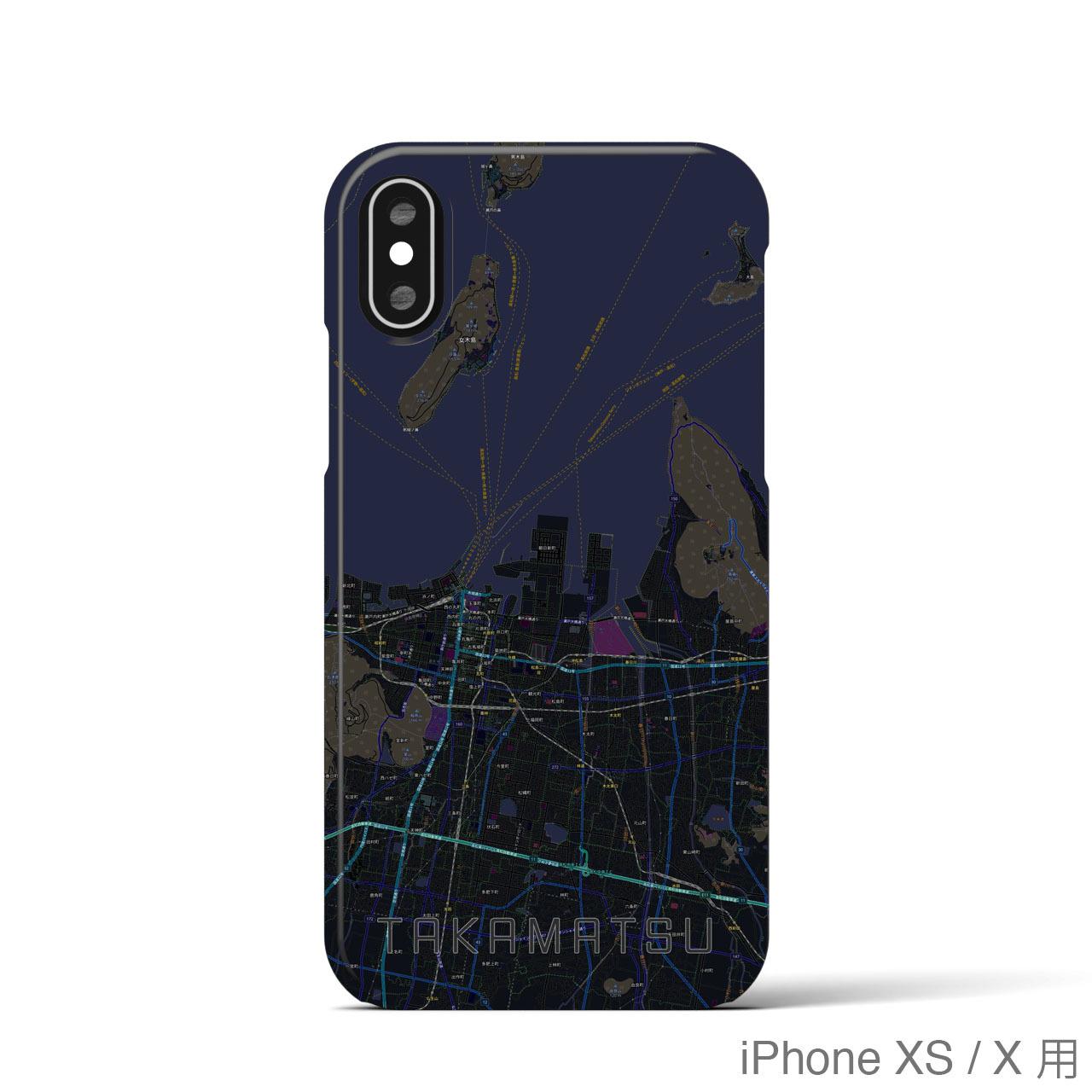 【高松】地図柄iPhoneケース(バックカバータイプ・ブラック)