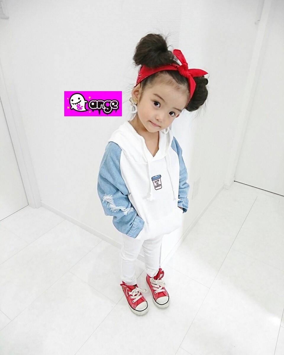 【予約販売】韓国子供服 デニム×スウェット 牛乳パーカー 女の子 キッズ 秋冬