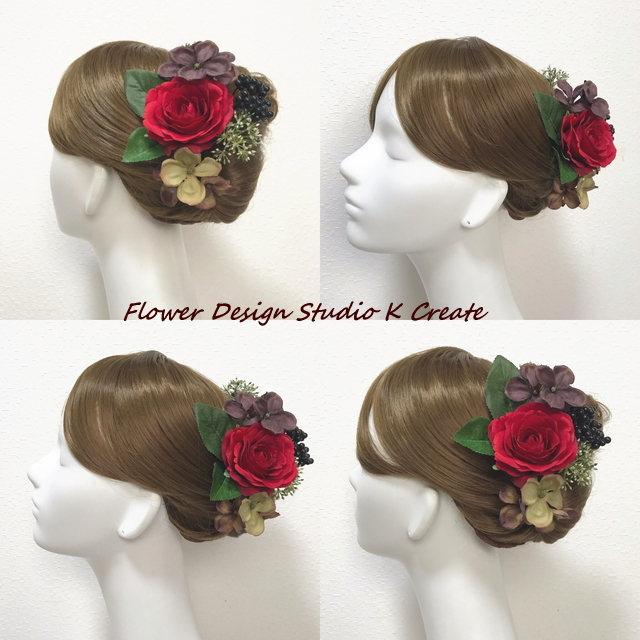 赤い薔薇と紫陽花のヘッドドレス(7本セット)アーティフィシャルフラワー 造花