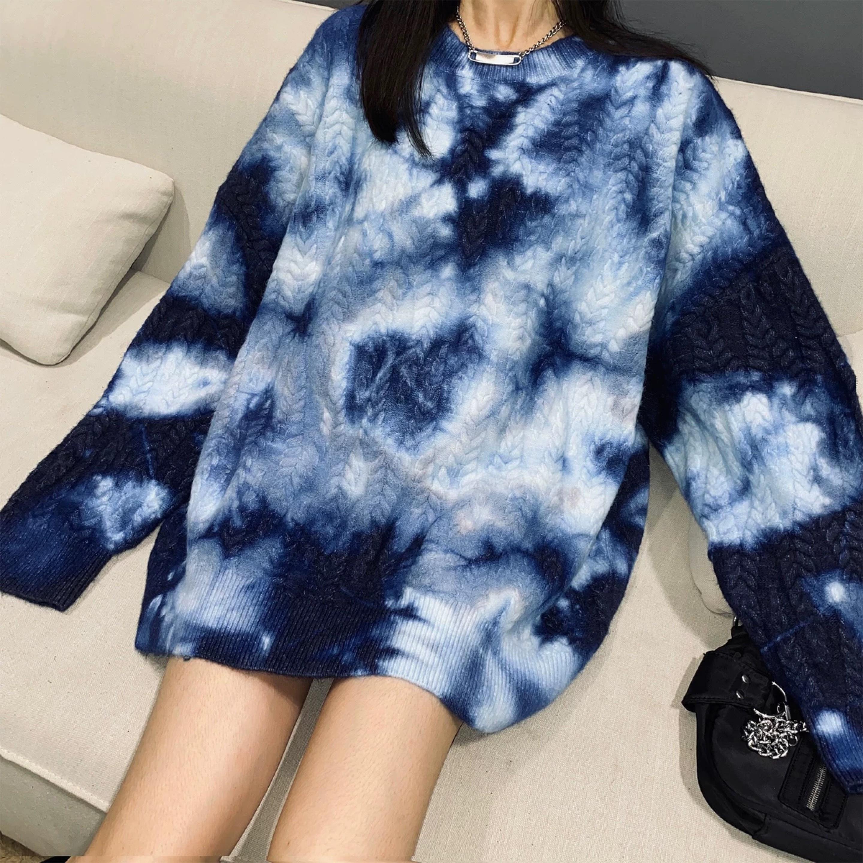 color paint marble knit