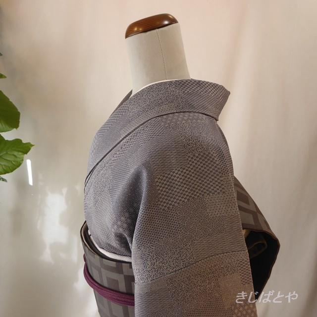正絹 錫紵(しゃくじょ)色の江戸小紋 袷