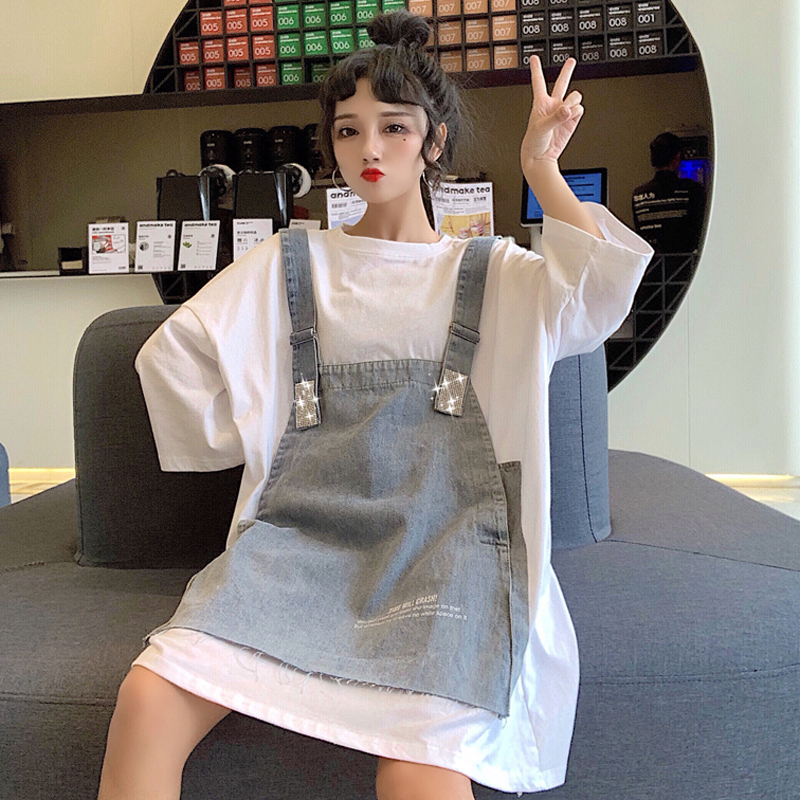 【送料無料】 ゆる×だぼワンピ♡ レイヤード風 デニム サロペット ドッキング Tシャツ ワンピース ビッグシャツ