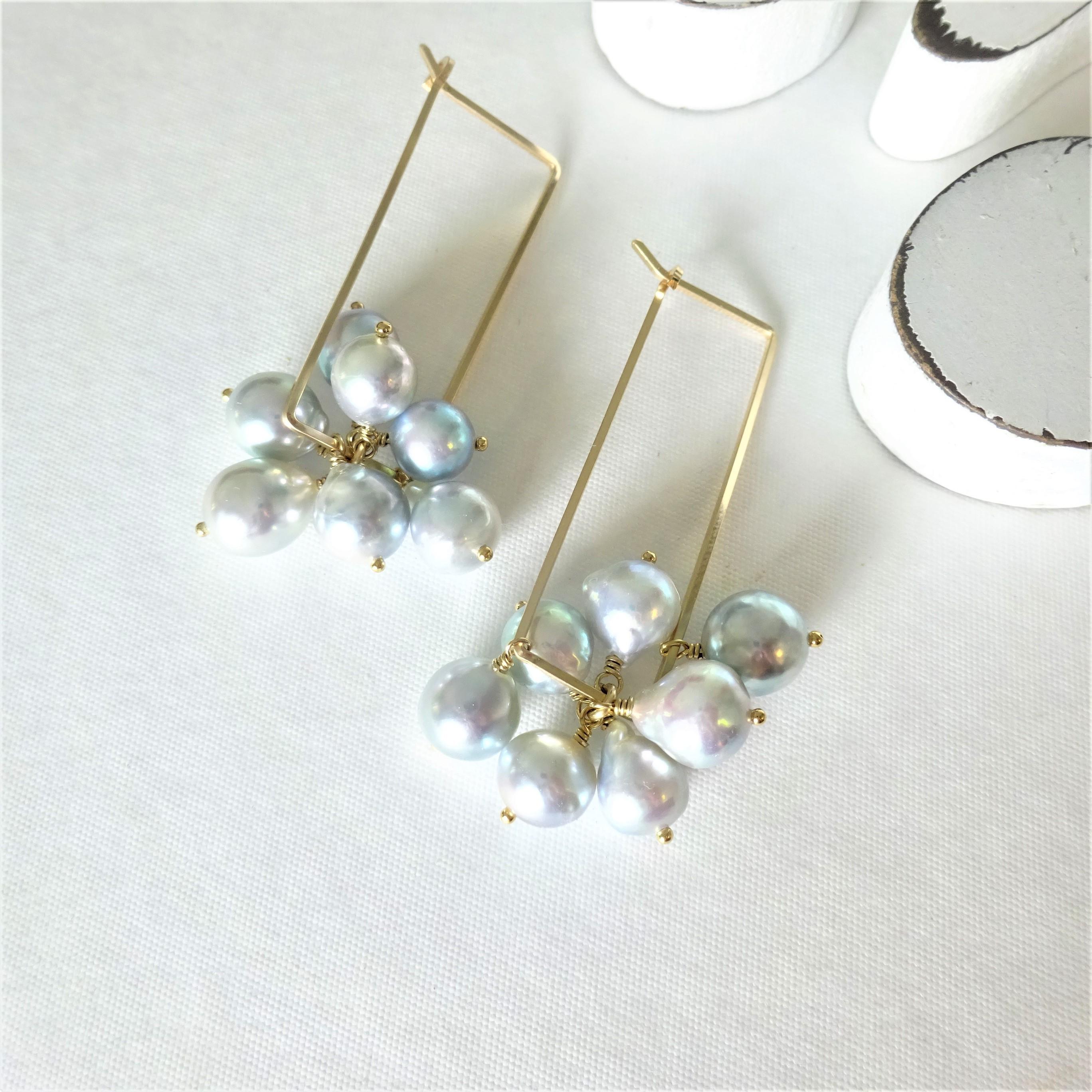 送料無料 14kgf♡Japanese Akoya sea pearl square pierced earring NATURAL SILVER パール