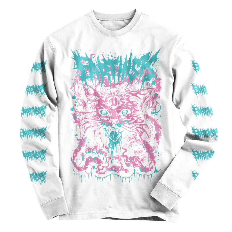 """DEATH CAT"" LONG SLEEVE T-SHIRTS(WHITE) - 画像1"