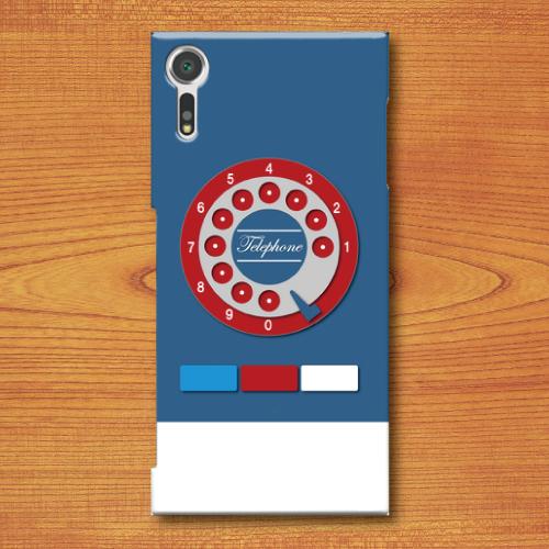 昭和レトロ/おもちゃ電話調/レトロ玩具調/青色(ブルー)/Androidスマホケース(ハードケース)