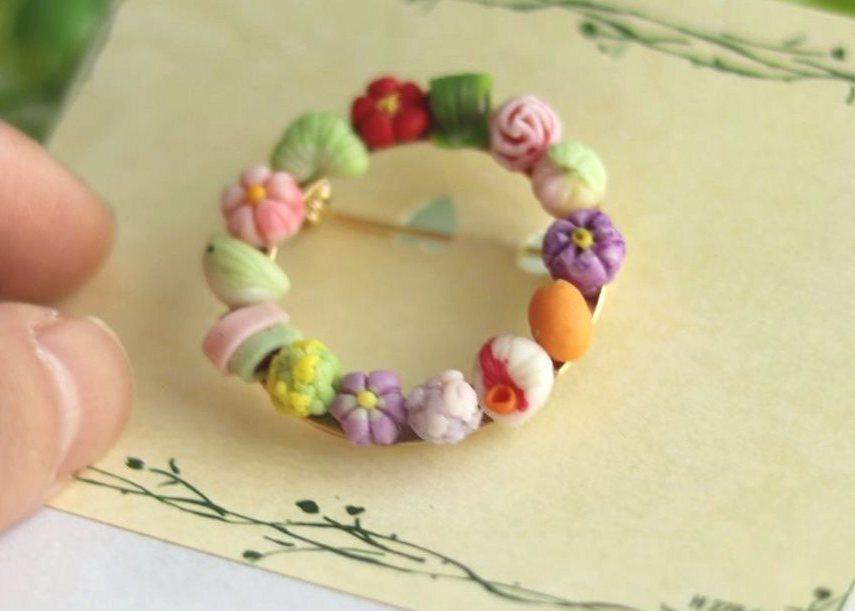 【送料込み】和菓子リングブローチ artist nao