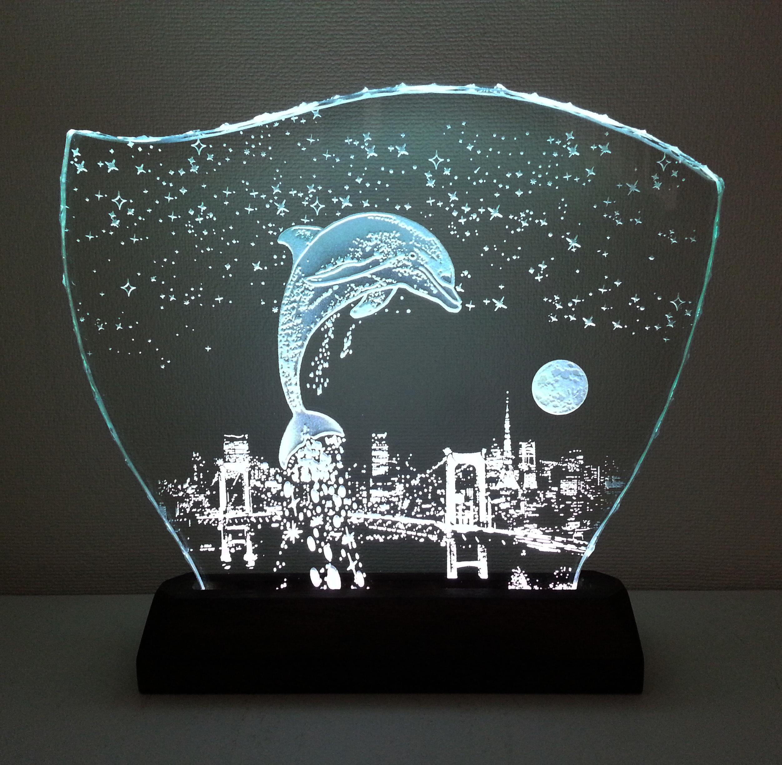 星降る夜・イルカ・レインボーブリッジ ガラスエッチングパネル Lサイズ・LEDスタンドセット(ランプ・ライト・照明)