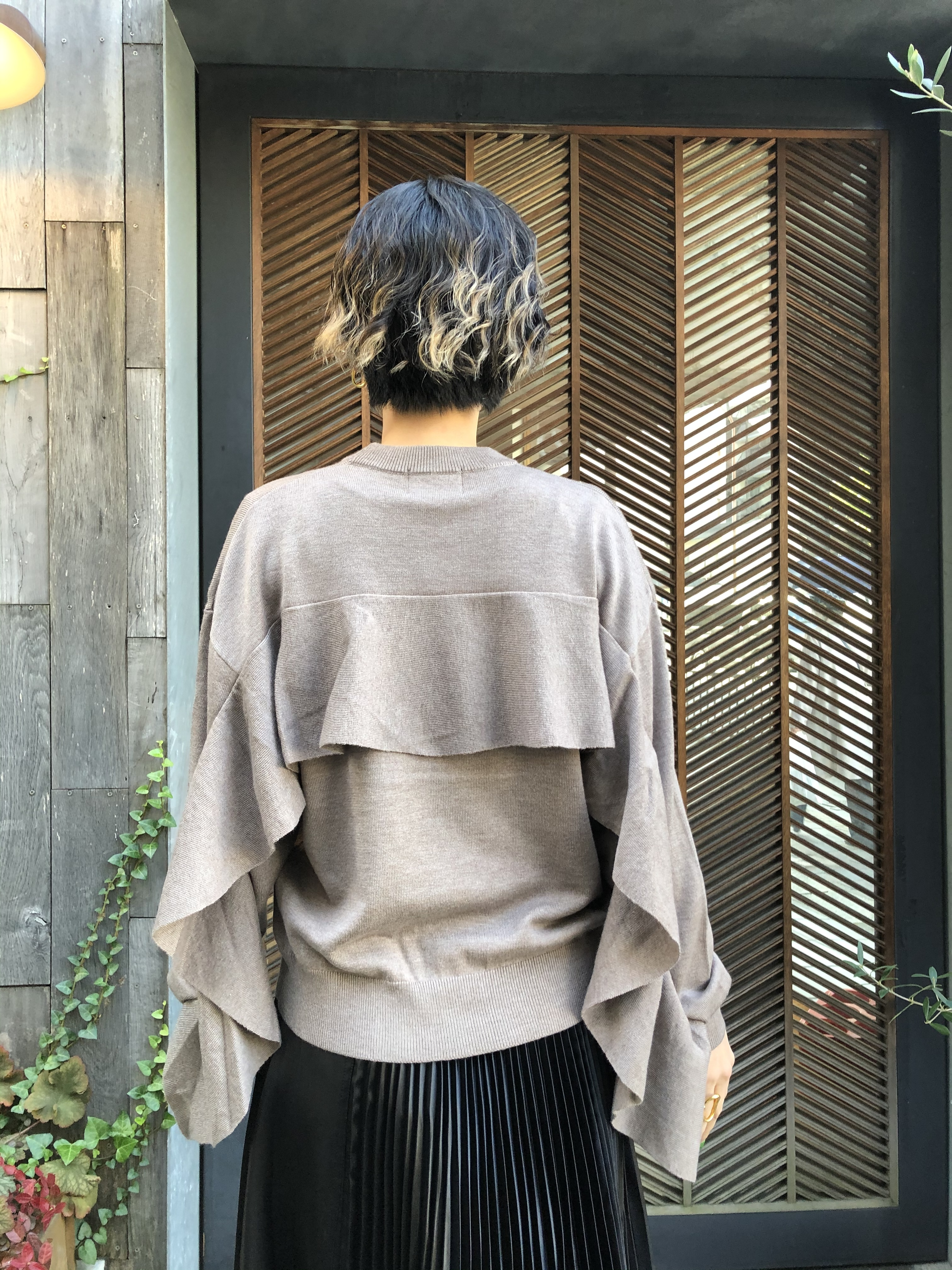【20AW】CLANE クラネ/BACK FRILL KNIT TOPS
