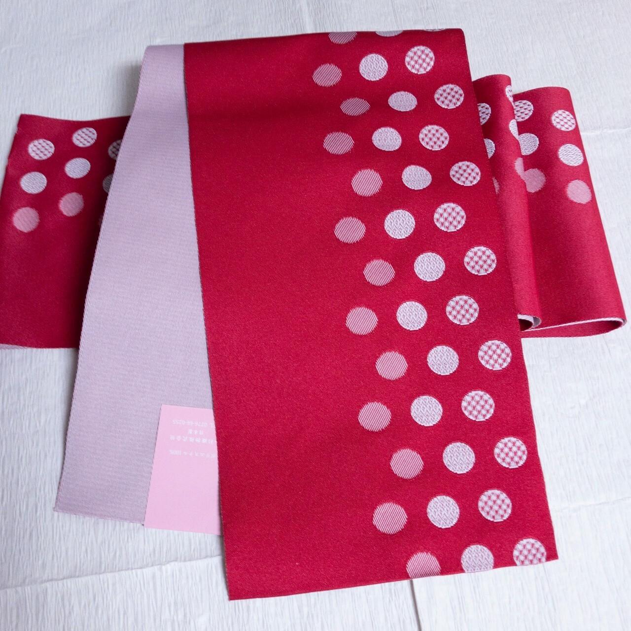 【新品】リバーシブル単仕立て半幅帯 化繊 赤×白水玉