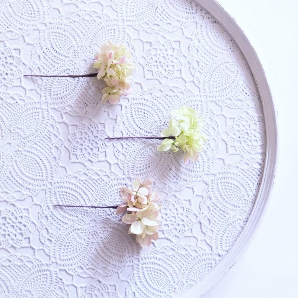 〖 ライムパープル・ピラミッドアジサイのヘッドドレスパーツ3本 〗お好きなプリザ花材をカスタムメイドでお作り致します