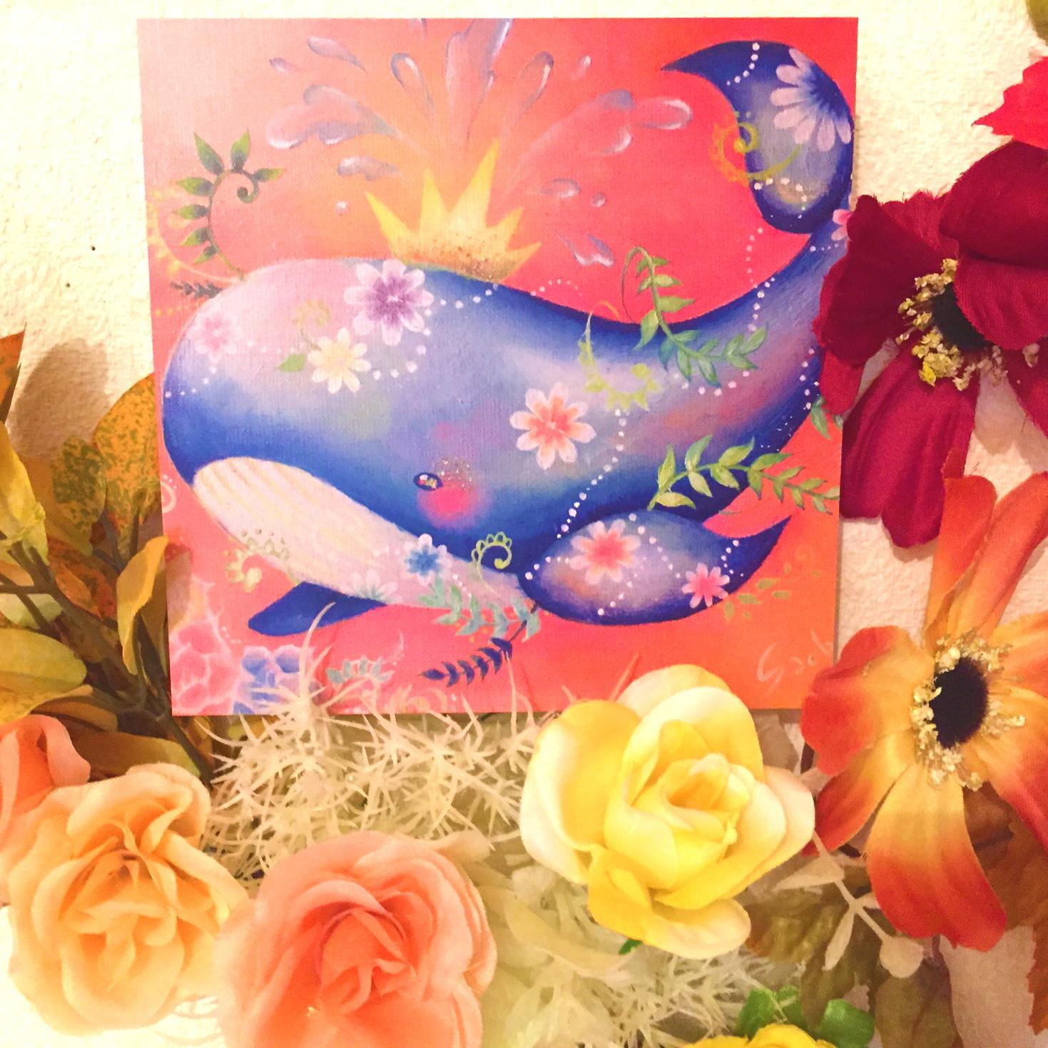 絵画 インテリア アートパネル 雑貨 壁掛け 置物 おしゃれ 油絵 海 花 ロココロ 画家 : 黒野 祥絵 作品 : クジラ