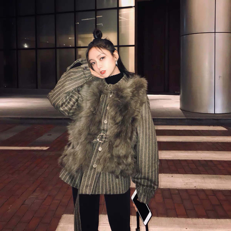 stripe fur jacket 2peace