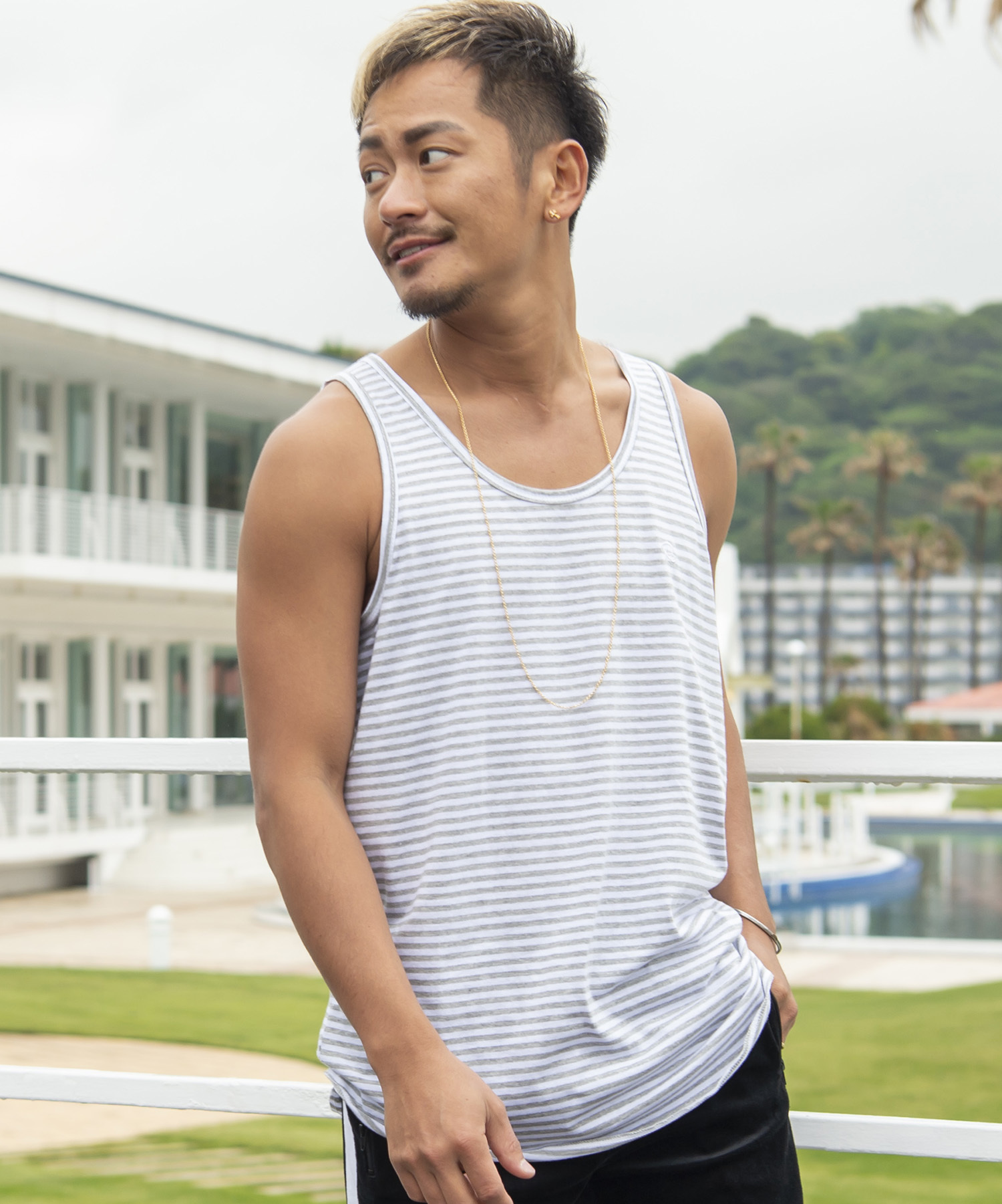 Re: ONE POINT BORDER TANK TOP[REC201]