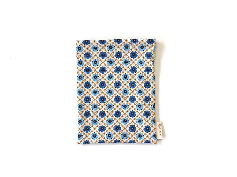 ハリネズミ用寝袋 S(夏用) 綿麻リップル×スムースニット 花小紋 ブルー