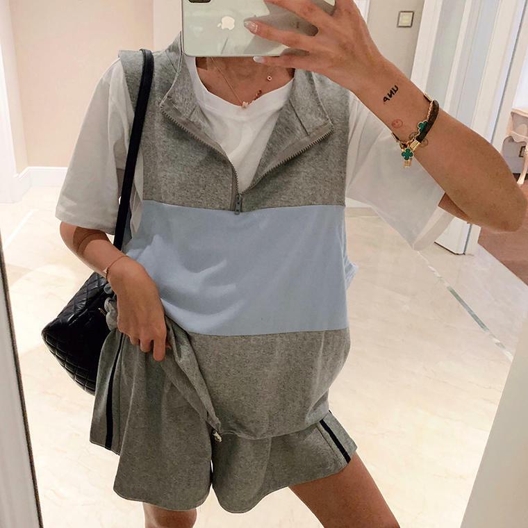 【送料無料】スポーツMIXコーデに♡ Tシャツ + ベスト + ショートパンツ 3点セット フェス モノトーン