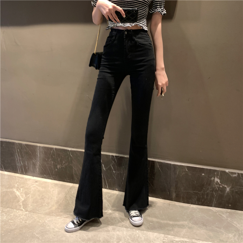 【bottoms】着痩せファッション無地ハイウエストデニムパンツ23685513