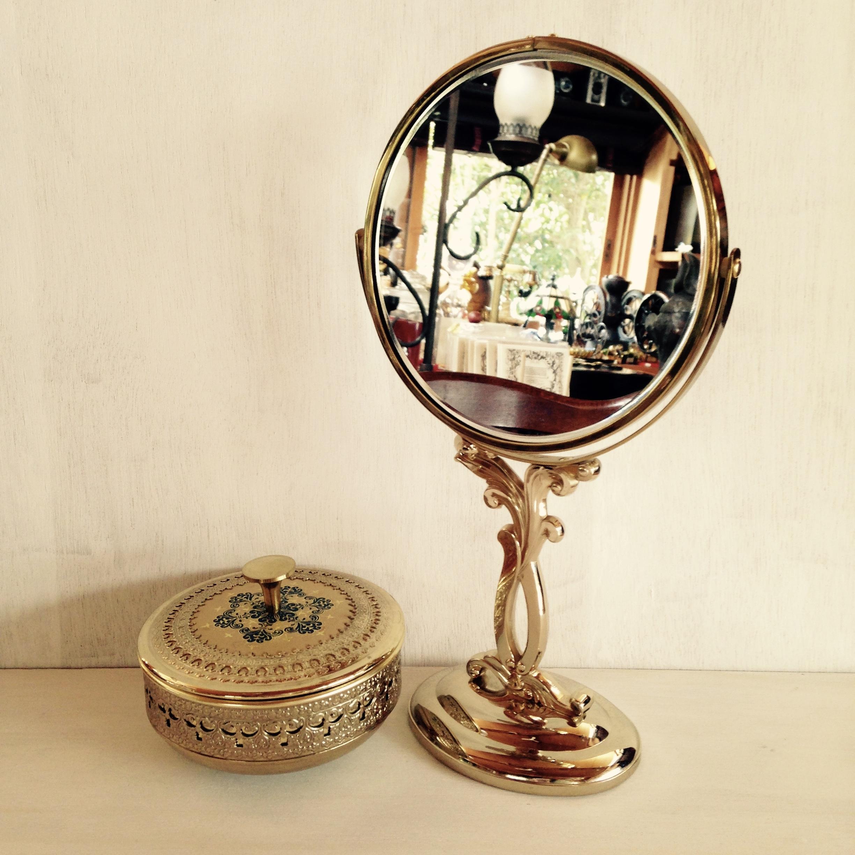 昭和の鏡と小物入れセット 資生堂