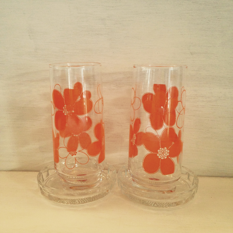 オレンジ色の花のグラス、コースター付き(HOYA製)昭和レトロ