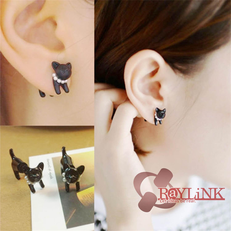 【ピアス】可愛い黒猫 3D立体デザイン マッドブラック アクセサリー ファッション スタッド