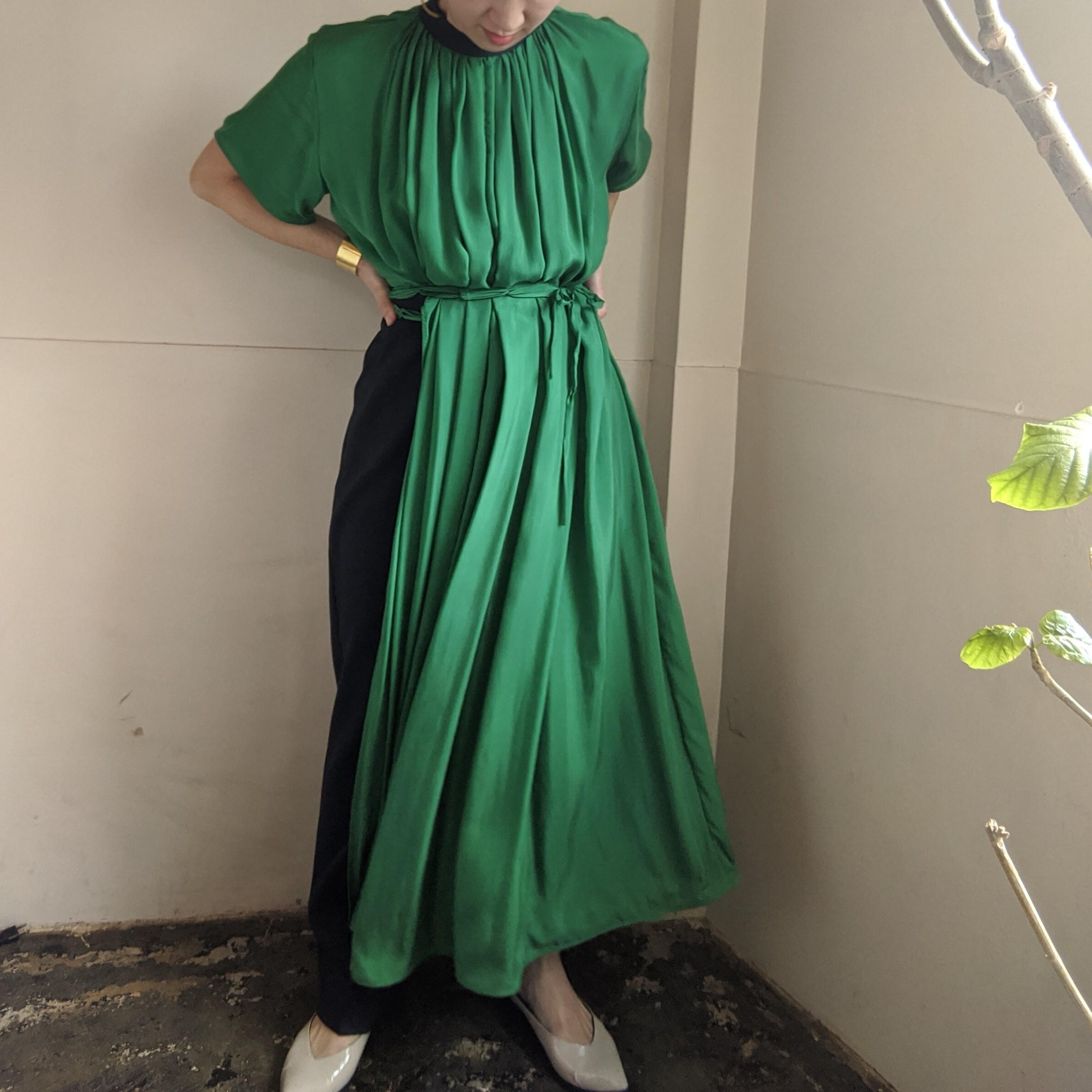 【 AKIRAFURUKAWA 】cupro all in one / オールインワン グレンチェック グリーン GREEN
