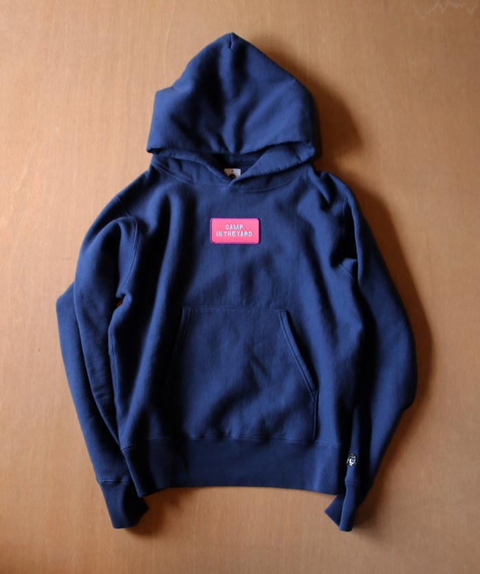 TACOMA FUJI RECORDS CAMP IN THE YARD PATCH HOODIE NAVY designed by Jerry UKAI