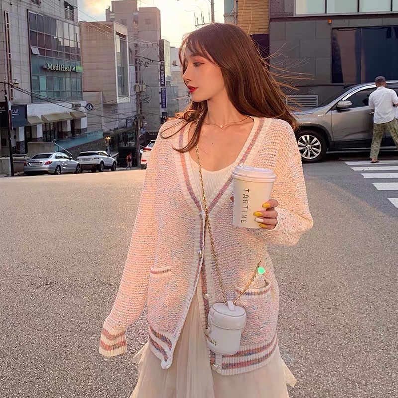 line pink cardigan