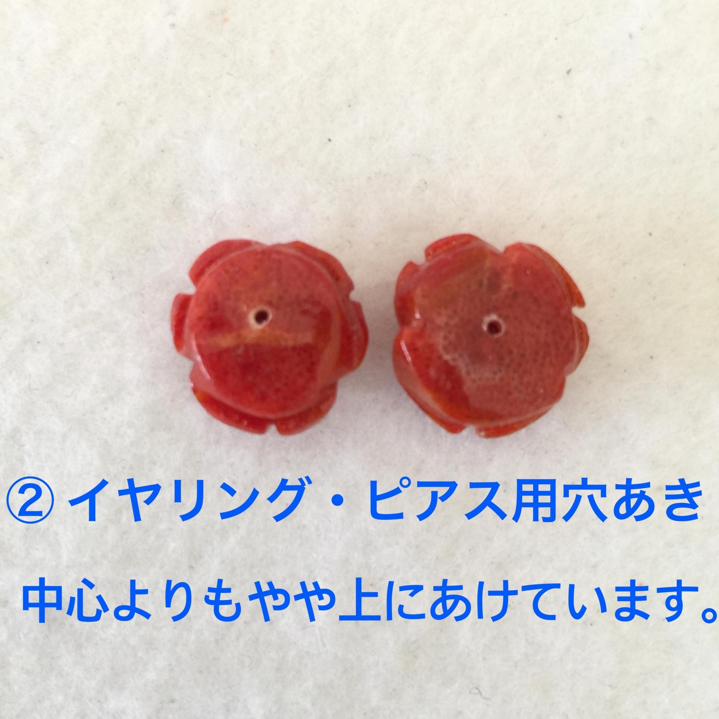 スポンジサンゴ バラ 約15ミリ ペアー 明色【180018C】