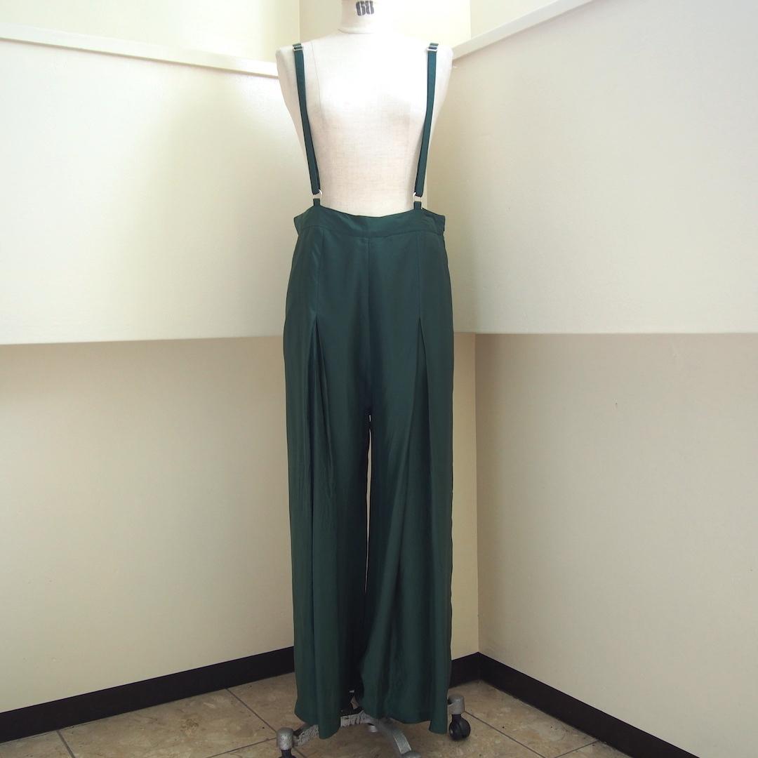 【hippiness】cupro suspender pants(Green)/ 【ヒッピネス】キュプラ サスペンダー パンツ (グリーン)