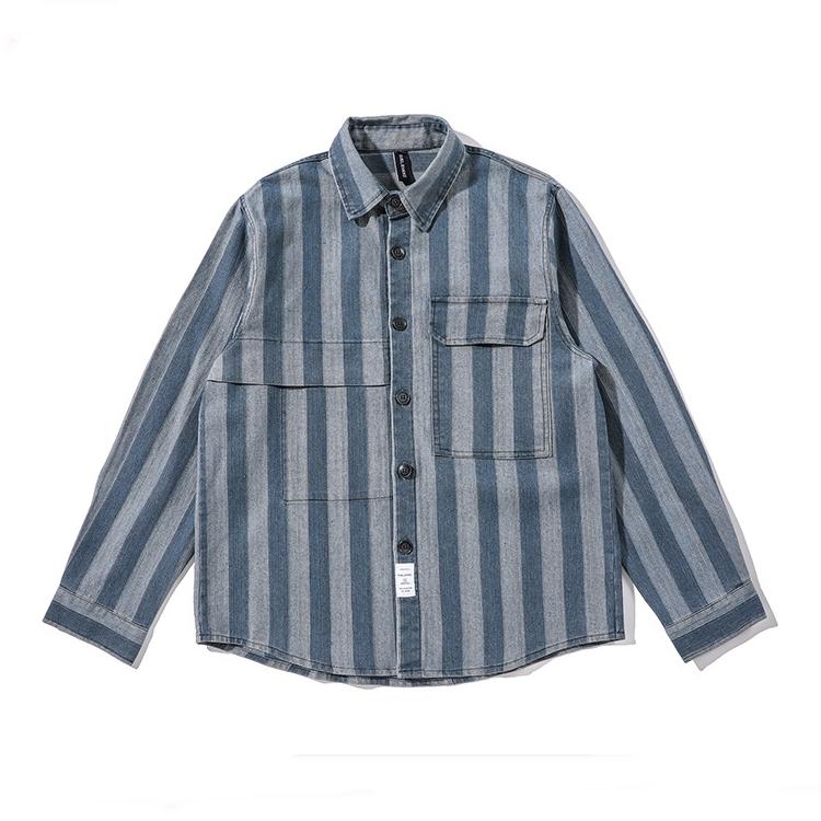 【UNISEX】アウトドア ストライプ ロングスリーブシャツ【2colors】