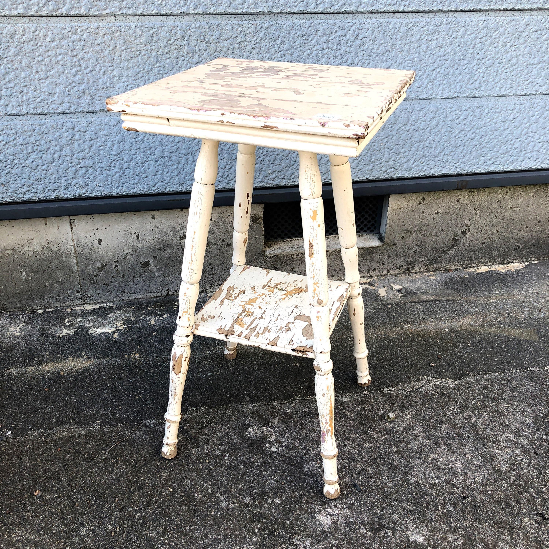 品番1827 スクエア サイドテーブル 木製 ホワイト アンティーク 家具