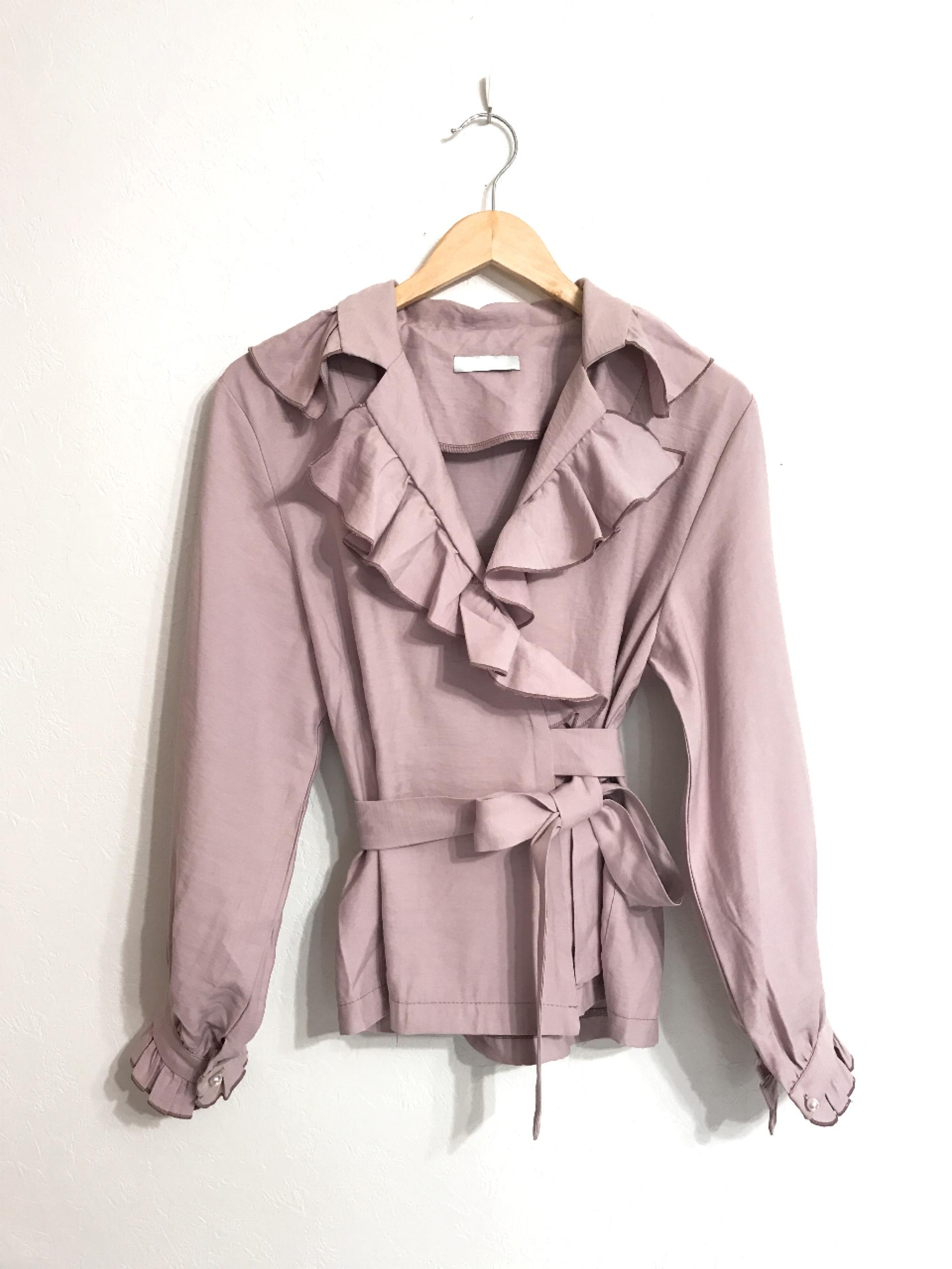 フリルのカシュクールシャツジャケット モーヴピンク