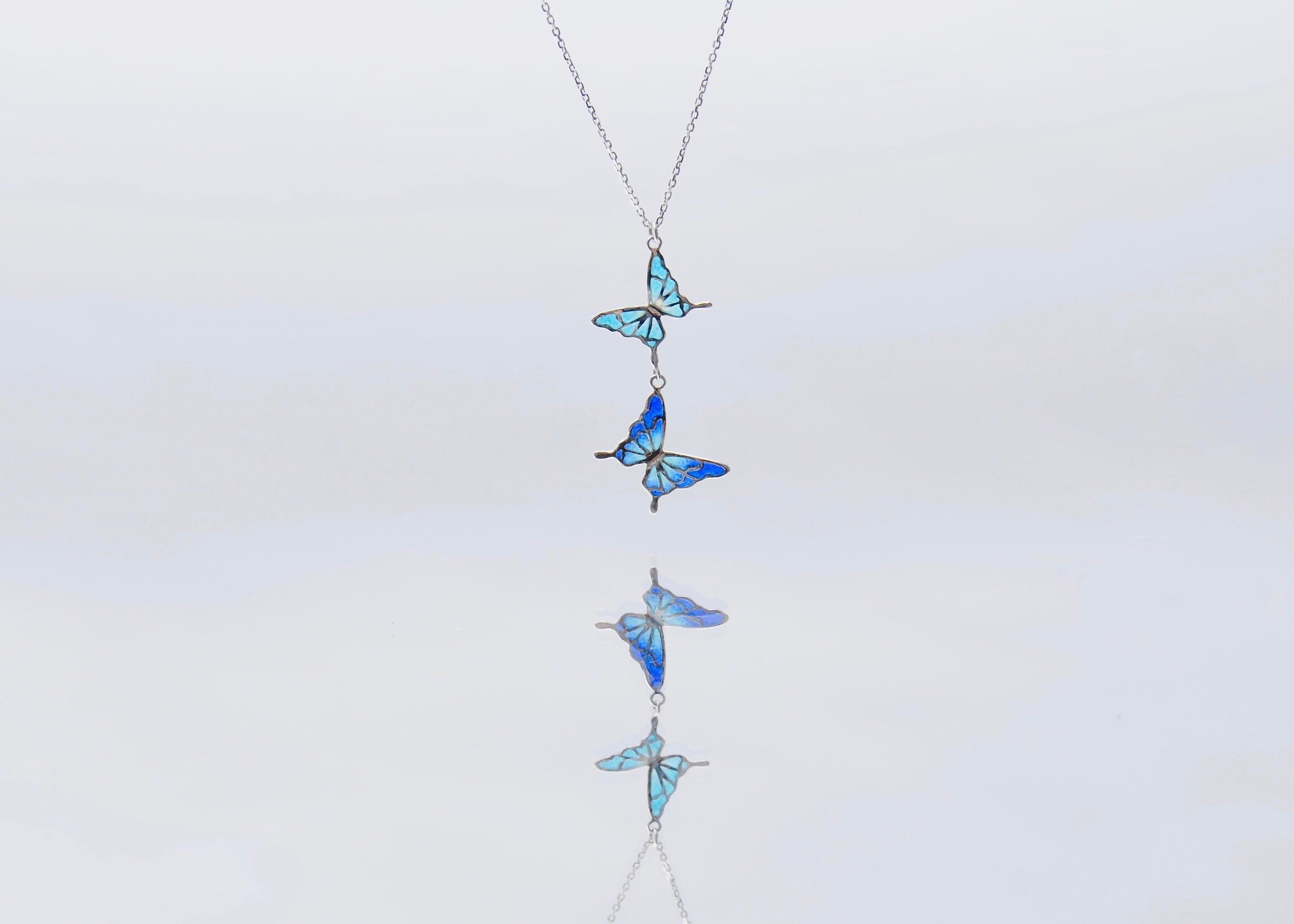 - 碧い蝶 - 透胎七宝ネックレス