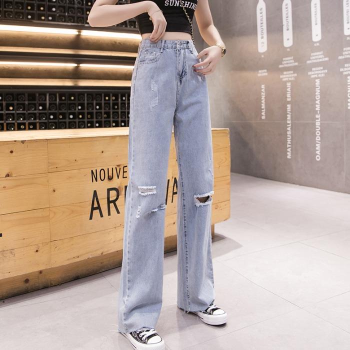 【bottoms】 ダメージ加工ハイウエストファッションデニムパンツ27186262