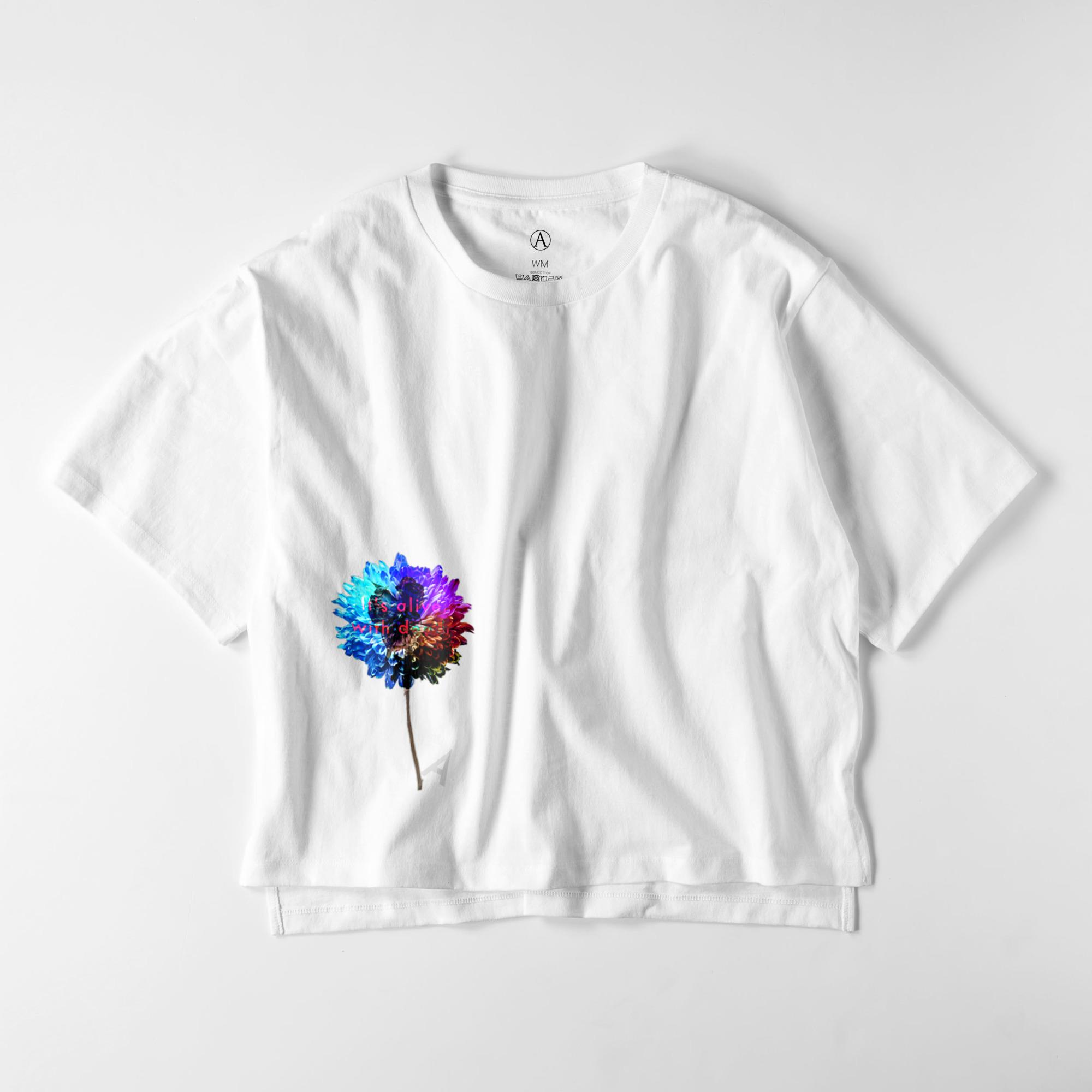 Flower-blue ビッグシルエットTシャツ / Ladies(4色)
