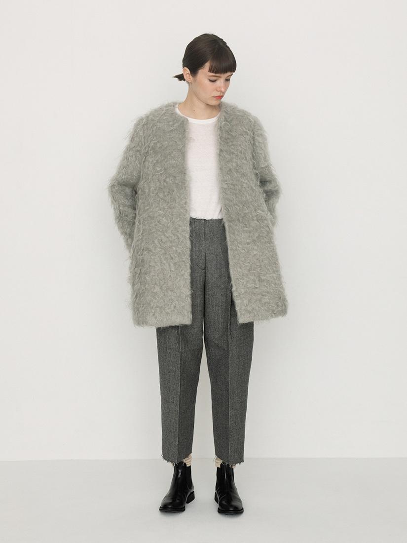 mohair no-collar coat(ice grey)