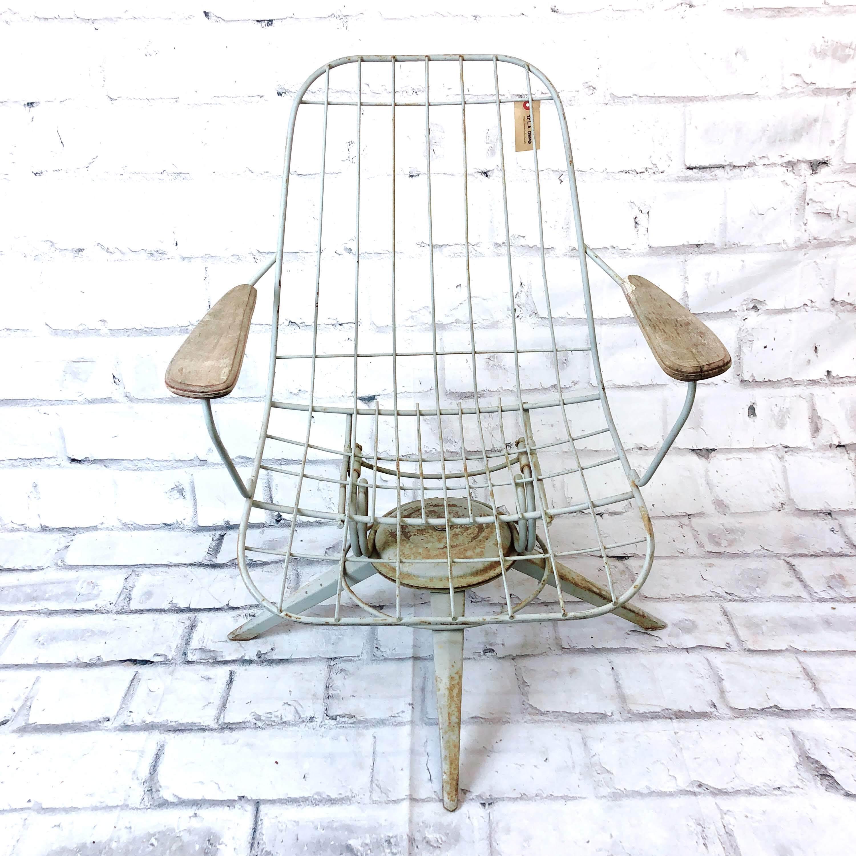 品番5278 インダストリアル ワイヤーチェア 肘掛け付き 椅子 インテリア アンティーク