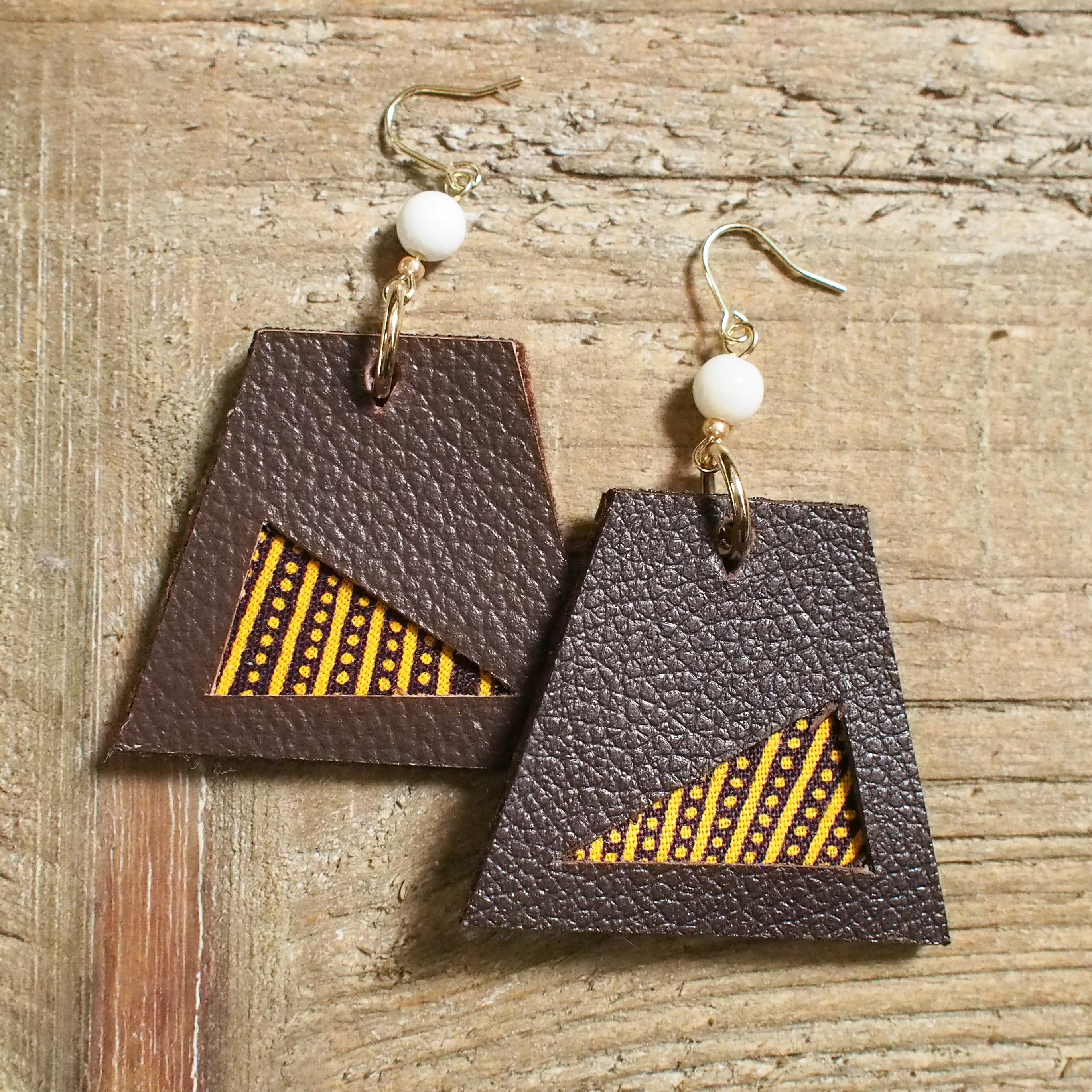 Leather trapezoid Pierce / brown2