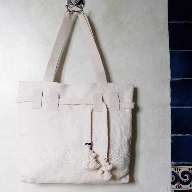 サポテコ手織りのトートバッグ /210/ White / MEXICO メキシコ