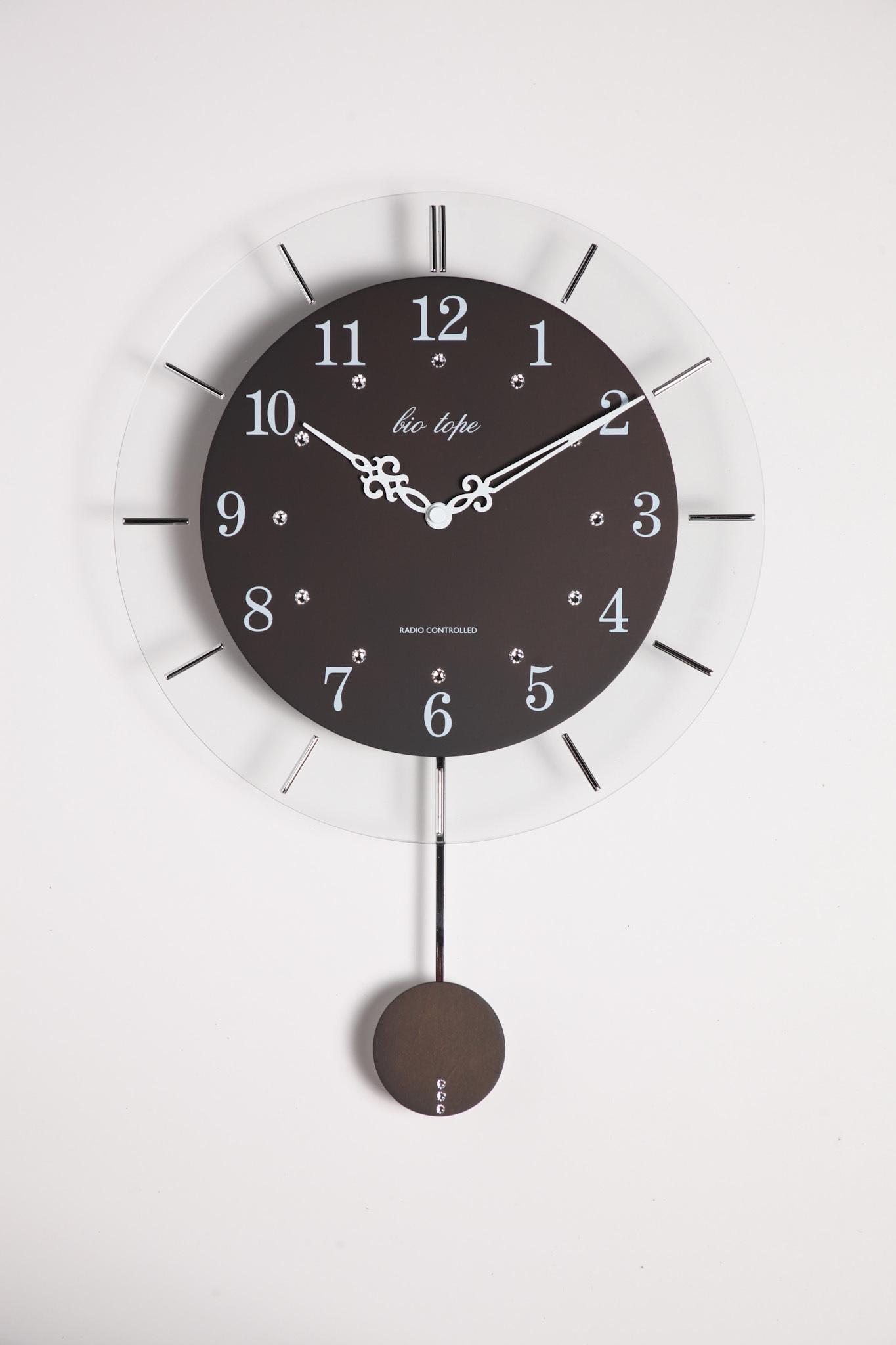 振り子時計 電波時計 電波スロー振り子時計 BIO-006 板尾工芸オリジナル - 画像1