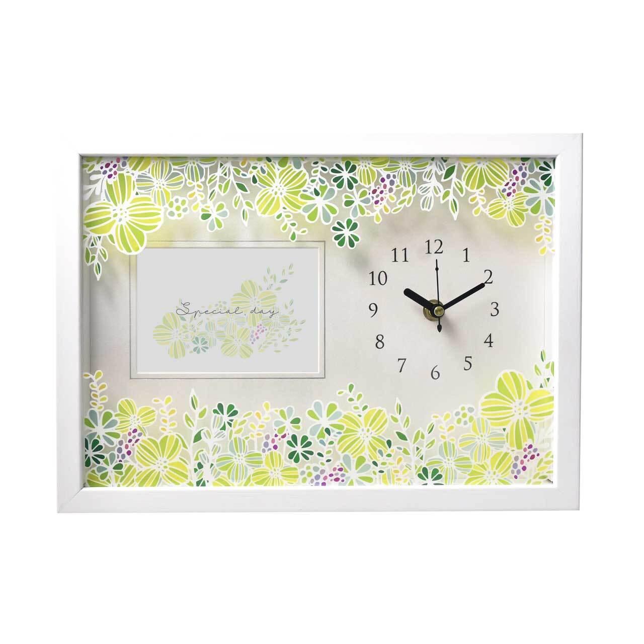 お花プリントフォトフレーム時計「グリーン」