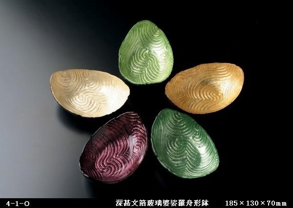 深甚文箔玻璃婆娑羅舟形鉢(185×130×70㎜)4-1-O