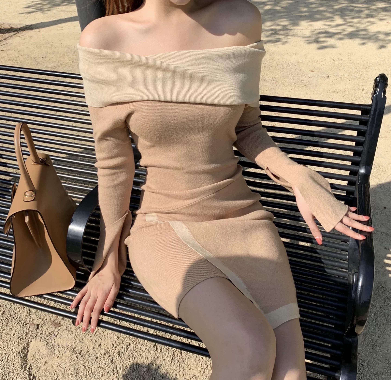 off shoulder brown dress