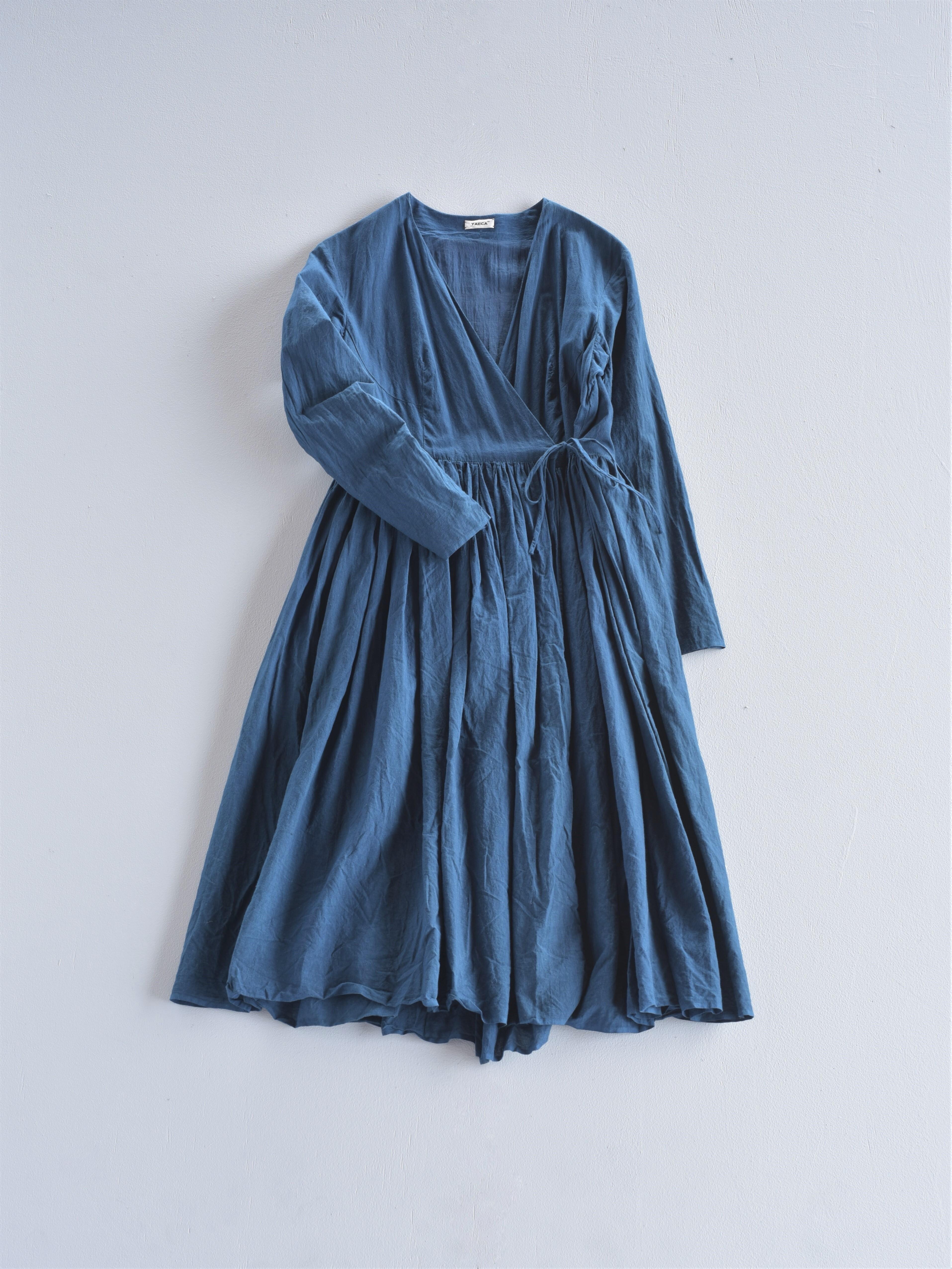 YAECA khadi |ラップギャザードレス indigo 琉球藍