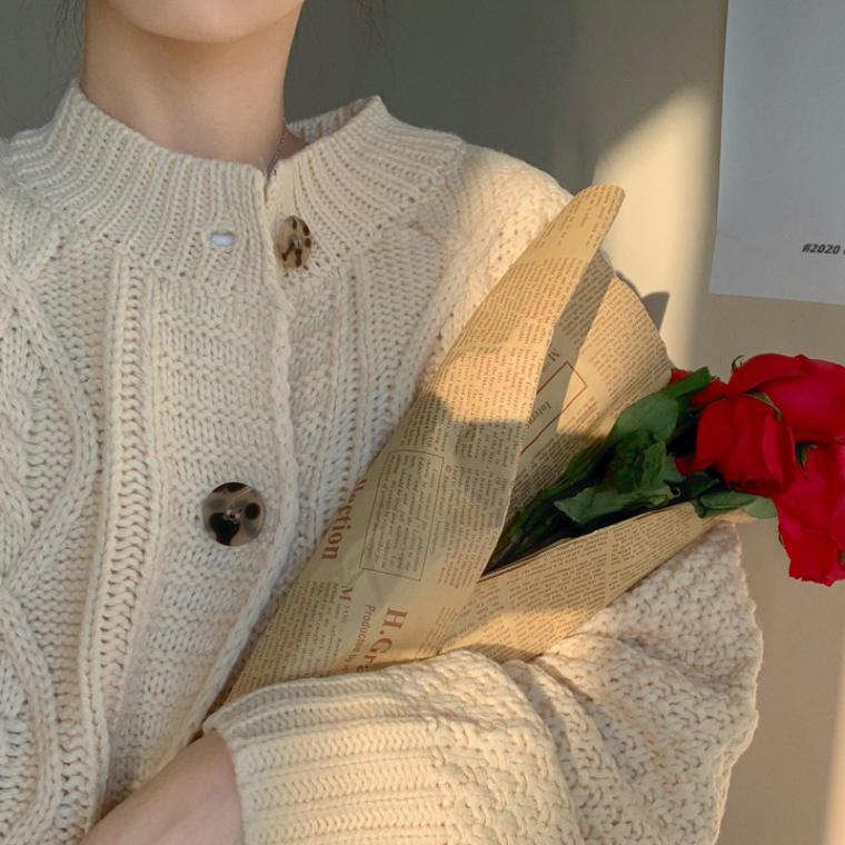 【送料無料】 ゆるっとルーズシルエット♡ クルーネック ケーブル編み オーバーサイズ ニット カーディガン 古着風